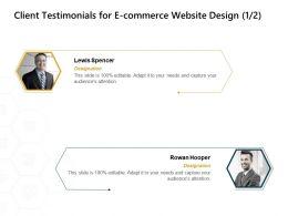 Client Testimonials For E Commerce Website Design Designation Ppt Powerpoint Presentation Graphics