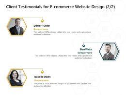 Client Testimonials For E Commerce Website Design Editable Ppt Powerpoint Presentation Background