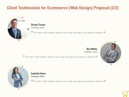 Client Testimonials For Ecommerce Web Design Proposal Ppt Powerpoint Outline