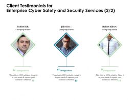 Client Testimonials For Enterprise Cyber Safety And Security Services R355 Ppt Templates