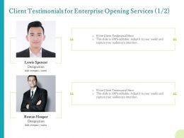 Client Testimonials For Enterprise Opening Services Ppt Background Icons
