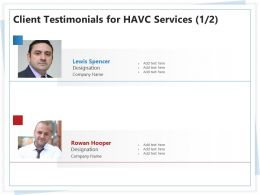 Client Testimonials For HAVC Services L1776 Ppt Powerpoint Presentation Layout