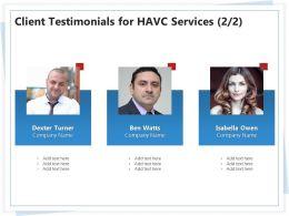 Client Testimonials For HAVC Services L1777 Ppt Powerpoint Presentation Graphic
