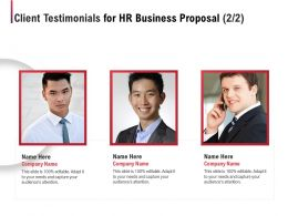 Client Testimonials For HR Business Proposal Ppt Powerpoint Presentation Skills