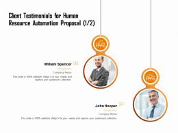 Client Testimonials For Human Resource Automation Proposal Ppt Ideas