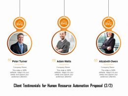 Client Testimonials For Human Resource Automation Proposal R126 Ppt Ideas