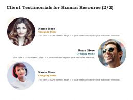 Client Testimonials For Human Resource Ppt Powerpoint Presentation Sample