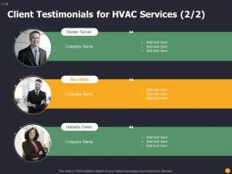 Client Testimonials For HVAC Services R127 Ppt Powerpoint Visual Aids