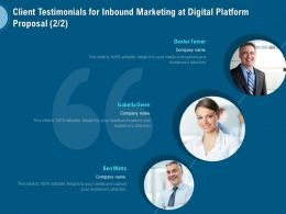 Client Testimonials For Inbound Marketing At Digital Platform Proposal L1509 Ppt Model