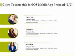 Client Testimonials For IOS Mobile App Proposal Ppt Powerpoint Presentation Images