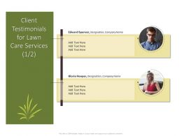 Client Testimonials For Lawn Care Services Ppt Powerpoint Icon Portrait