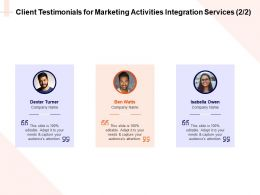 Client Testimonials For Marketing Activities Integration Services L1621 Ppt Templates
