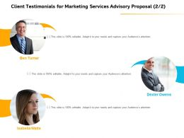 Client Testimonials For Marketing Services Advisory Proposal Ppt Ideas