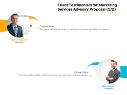 Client Testimonials For Marketing Services Advisory Proposal R168 Ppt File Formats