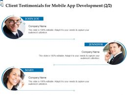 Client Testimonials For Mobile App Development Ppt Powerpoint Presentation Professional