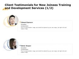 Client Testimonials For New Joinees Training And Development Services L1459 Ppt Slides