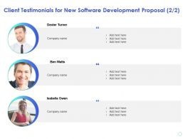 Client Testimonials For New Software Development Proposal Company Ppt Presentation Ideas