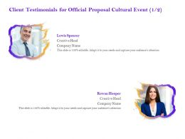 Client Testimonials For Official Proposal Cultural Event R288 Ppt Powerpoint Presentation