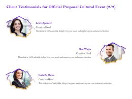 Client Testimonials For Official Proposal Cultural Event R289 Ppt Powerpoint Presentation Icon
