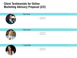 Client Testimonials For Online Marketing Advisory Proposal Ppt Powerpoint Ideas