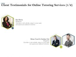 Client Testimonials For Online Tutoring Services R218 Ppt Powerpoint Presentation Icon Outline