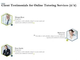 Client Testimonials For Online Tutoring Services R219 Ppt Powerpoint Presentation Icon Visual