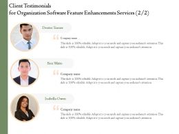 Client Testimonials For Organization Software Feature Enhancements Services L1746 Ppt Model