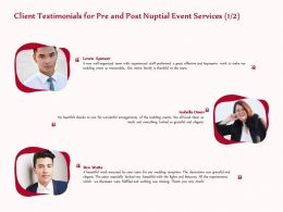 Client Testimonials For Pre And Post Nuptial Event Services R268 Ppt Model