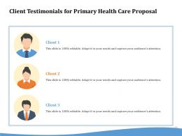 Client Testimonials For Primary Health Care Proposal Ppt Ideas