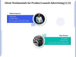 Client Testimonials For Product Launch Advertising R214 Ppt Presentation Icon