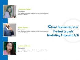 Client Testimonials For Product Launch Marketing Proposal R379 Ppt Template
