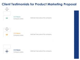 Client Testimonials For Product Marketing Proposal Ppt Powerpoint Presentation Slides