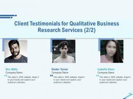 Client Testimonials For Qualitative Business Research Services R310 Ppt File Format Ideas