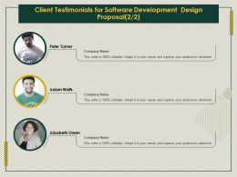 Client Testimonials For Software Development Design Proposal Ppt Templates