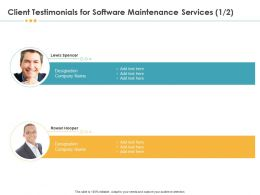 Client Testimonials For Software Maintenance Services R104 Ppt File Brochure