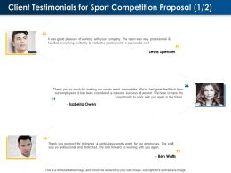 Client Testimonials For Sport Competition Proposal L1592 Ppt Powerpoint Layout Gallery