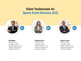 Client Testimonials For Sports Event Services R119 Ppt Powerpoint Icon Picture