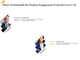 Client Testimonials For Student Engagement Event Services L1518 Ppt Powerpoint Slide