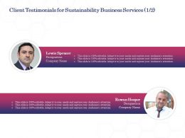 Client Testimonials For Sustainability Business Services L1700 Ppt Powerpoint Gridlines