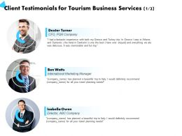 Client Testimonials For Tourism Business Services Travel Planning Ppt Powerpoint Presentation Templates