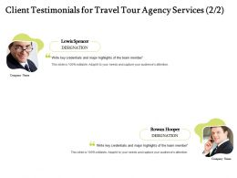 Client Testimonials For Travel Tour Agency Services R255 Ppt Powerpoint Presentation Gallery