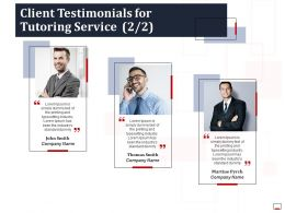 Client Testimonials For Tutoring Service Ppt Powerpoint Presentation Visuals