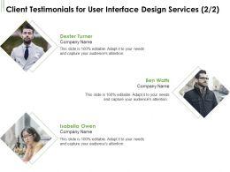 Client Testimonials For User Interface Design Services L1752 Ppt Powerpoint Ideas Slide