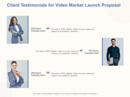 Client Testimonials For Video Market Launch Proposal Ppt Powerpoint Ideas