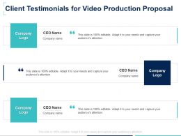Client Testimonials For Video Production Proposal Ppt Powerpoint Presentation Grid