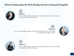 Client Testimonials For Web Design Services Proposal Template Ppt Powerpoint Icon