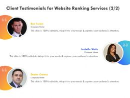 Client Testimonials For Website Ranking Services Ppt Powerpoint Gallery Show