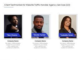 Client Testimonials For Website Traffic Handler Agency Services Teamwork Ppt Powerpoint Graphics
