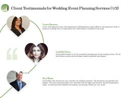 Client Testimonials For Wedding Event Planning Services R292 Ppt Model