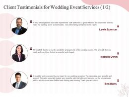 Client Testimonials For Wedding Event Services Ppt Powerpoint Presentation Slides